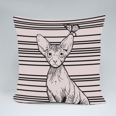 The Sphynx Look at the Butterfly Throw Pillows
