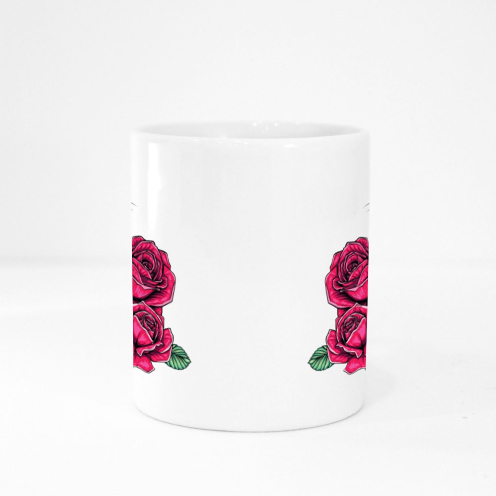 Cartoon Fluffy Cat With Roses Colour Mugs