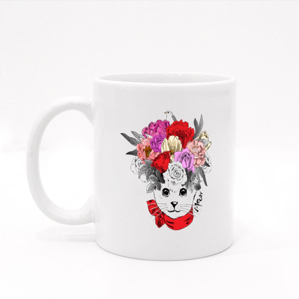 White Cat With Bow and Wreath Colour Mugs