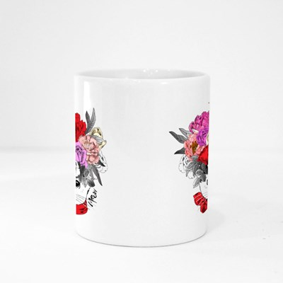 White Cat With Bow and Wreath Magic Mugs