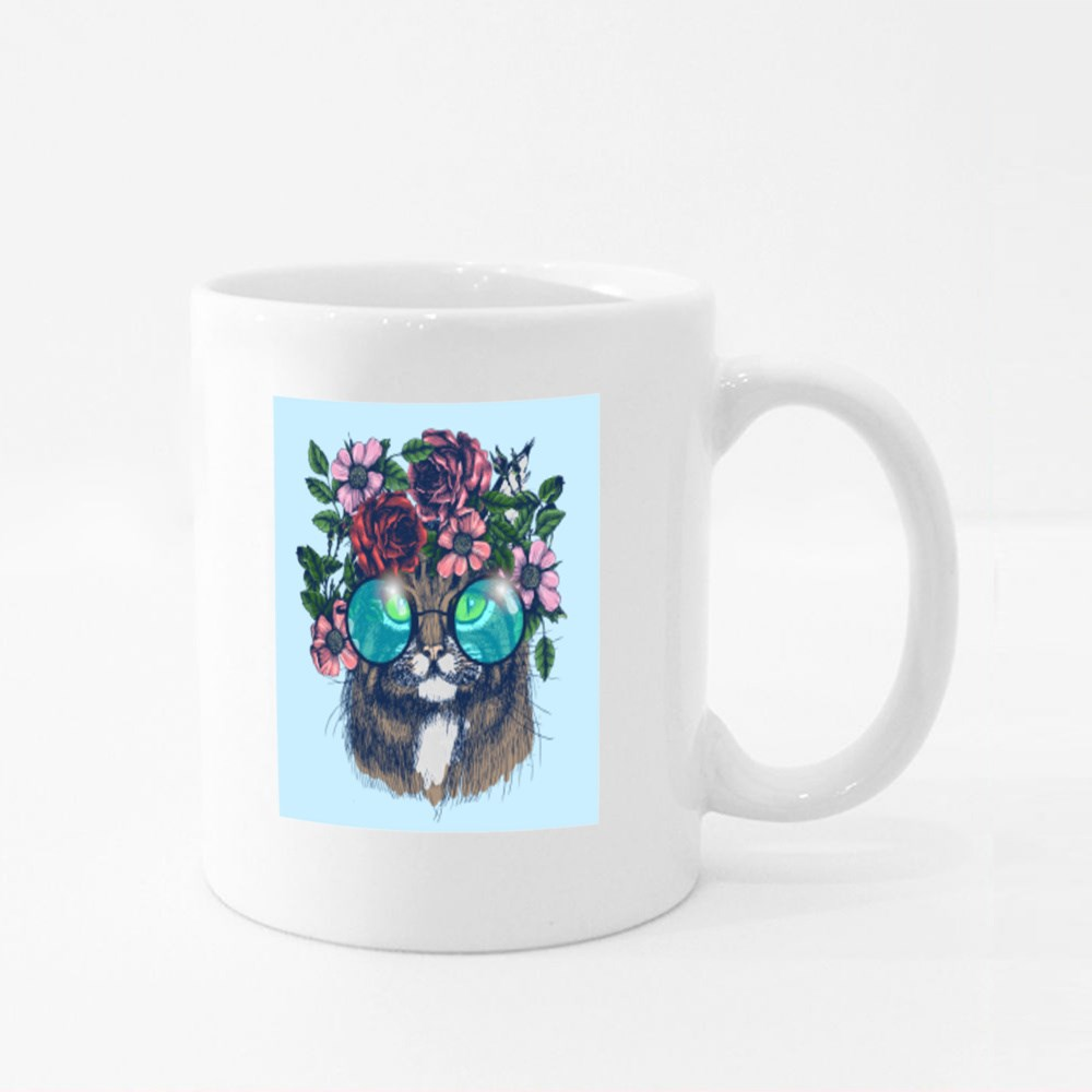 Maine Coon Cat Portrait With Floral Wreath and Round Sunglasses Colour Mugs