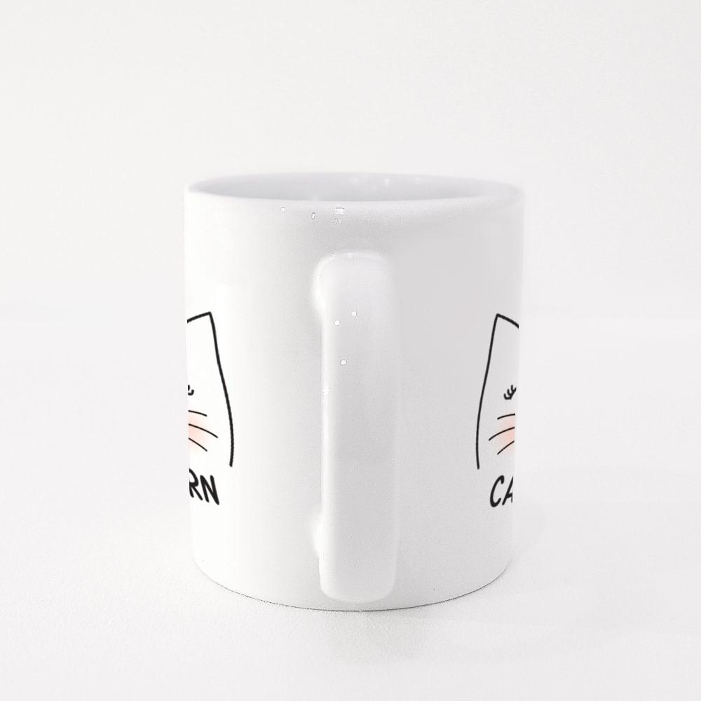 Cute Cat Character Meow Slogan Colour Mugs
