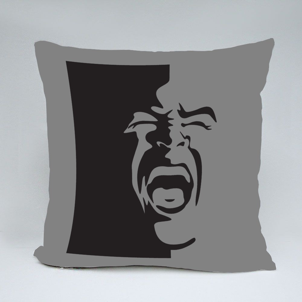 Black and White Screaming Face Bantal