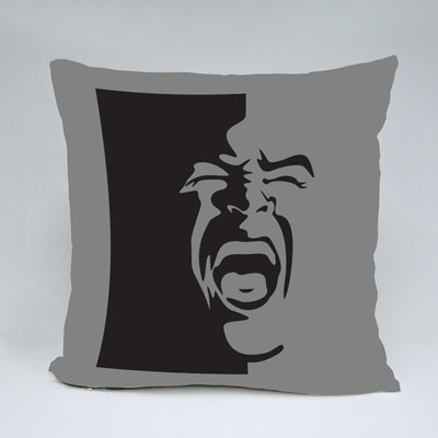 Black and White Screaming Face Throw Pillows
