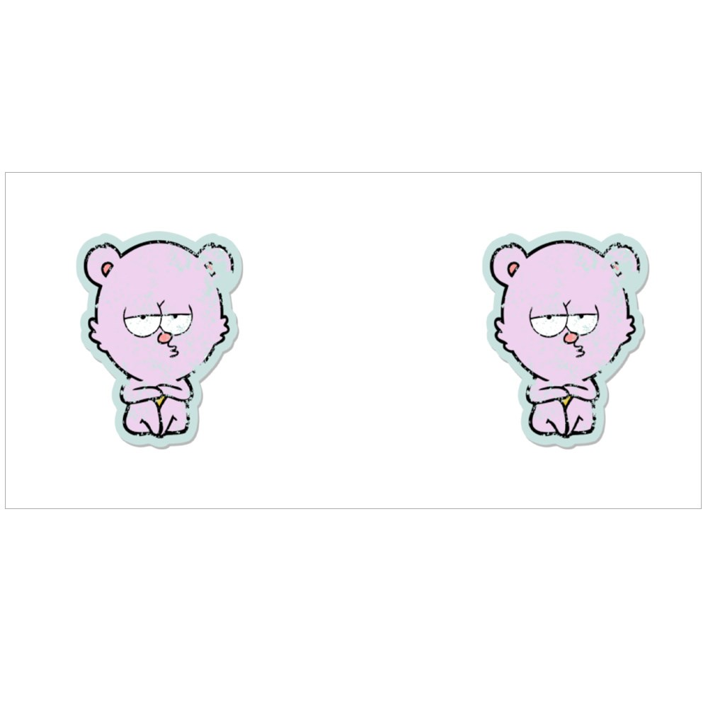 Distressed Sticker of a Bored Polar Bear Sitting Cartoon Colour Mugs