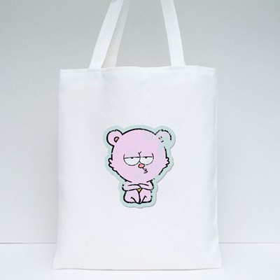 Distressed Sticker of a Bored Polar Bear Sitting Cartoon Tote Bags
