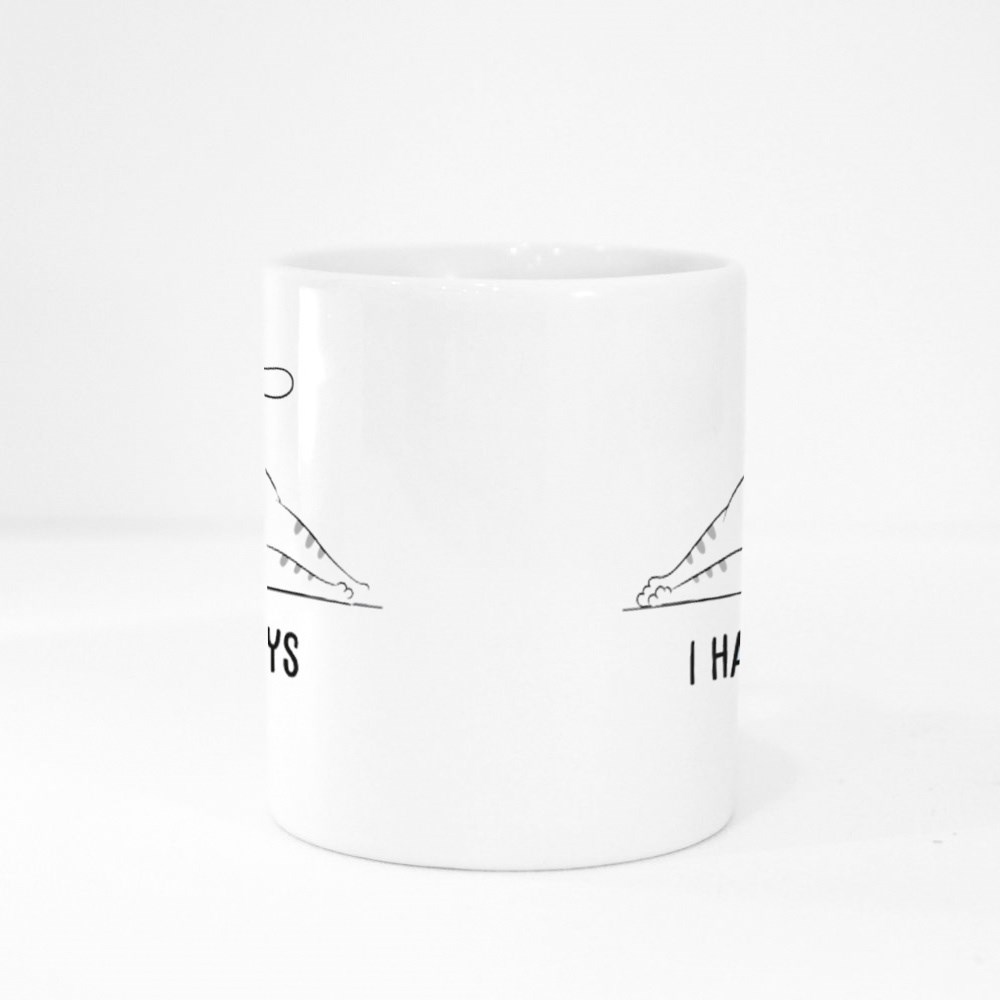 Cute White Sleeping Cat on the Floor With Cartoon Lettering I Hate Mon Colour Mugs