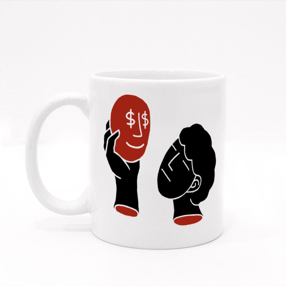 A Man With No Expression and Hold a Mask Colour Mugs