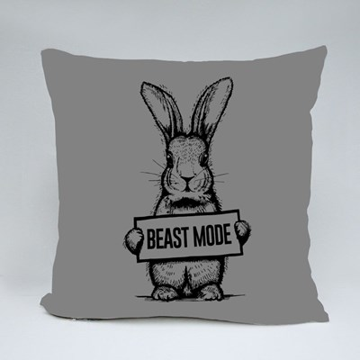 Beast Mode Bunny Cool and Funny T-Shirt Print Throw Pillows