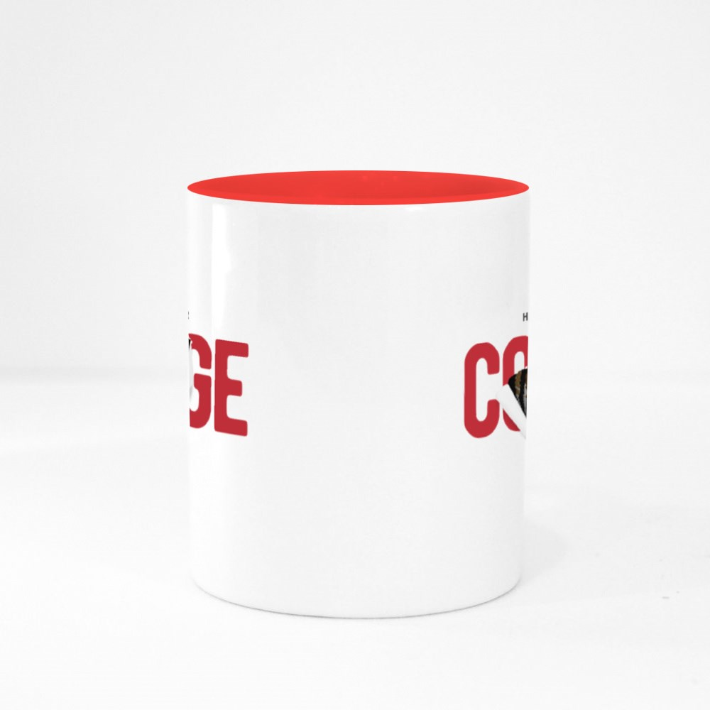 Courage Slogan Ripped Off With Tiger Illustration Colour Mugs