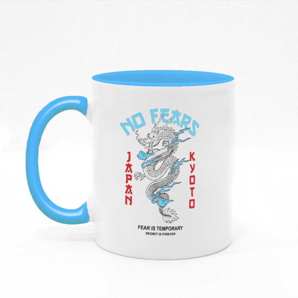 No Fears With Japanese Dragon Colour Mugs