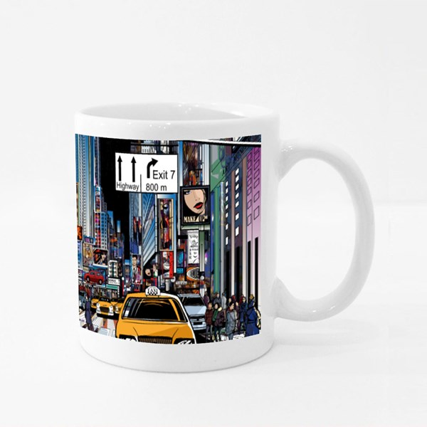 Street in New York City at Night Colour Mugs