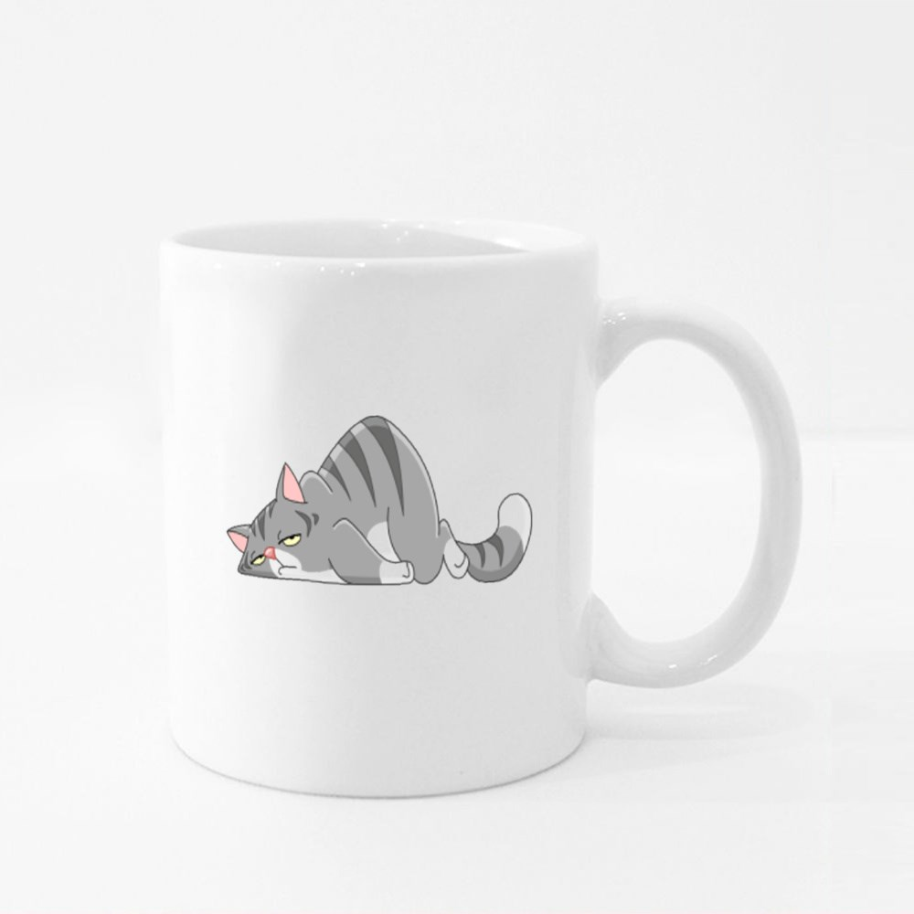 Tired Cat Lying on Its Stomach Colour Mugs