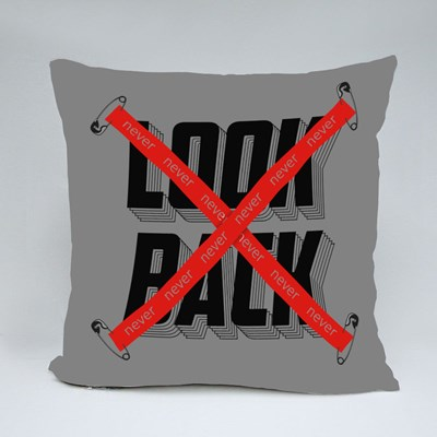 Never Look Back Crossed Tape Throw Pillows