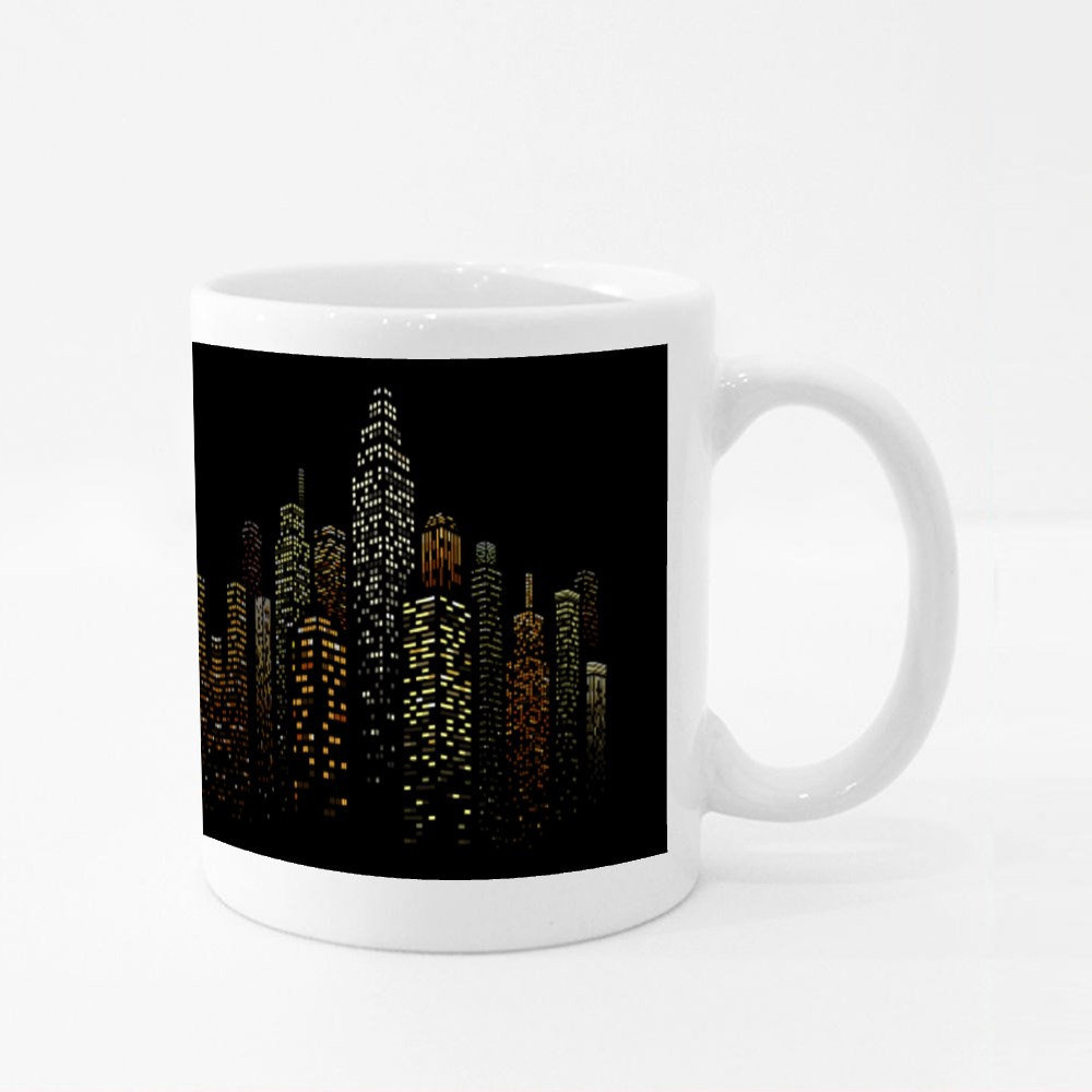 Black Buildings and Colored Windows Colour Mugs