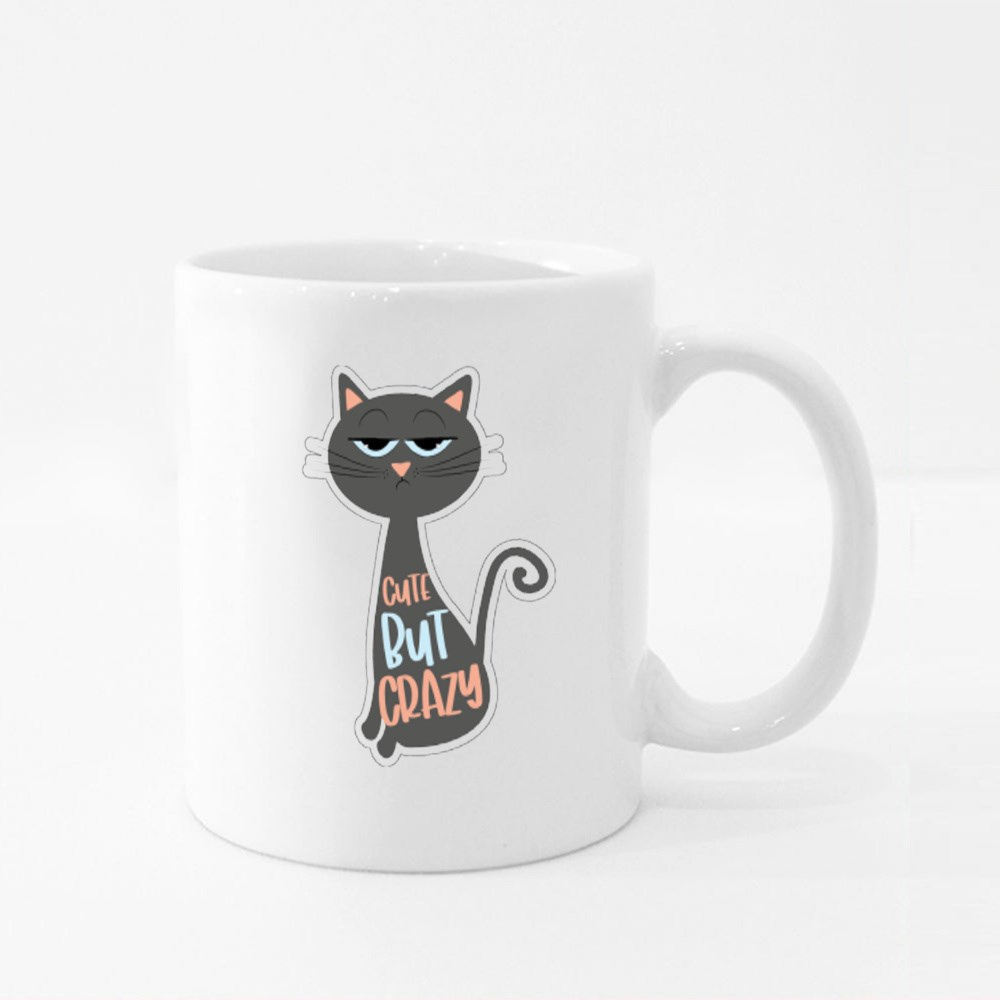 Cute but Crazy Funny Text With Grimacing Cat Colour Mugs
