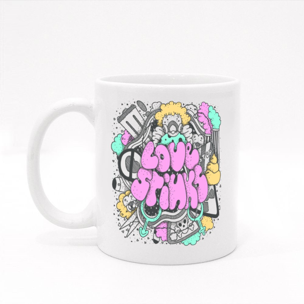 Love Stinks Text Lettering  Drawn Art Sign Colour Mugs