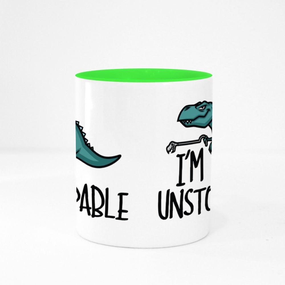 I'm Unstoppable Funny Dinosaur Colour Mugs