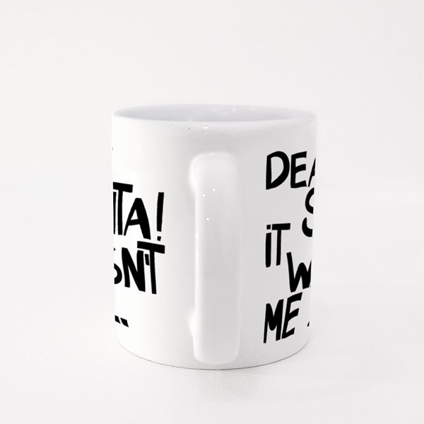 Dear Santa! It Wasn't Me. Hand Drawn Ink Lettering Colour Mugs