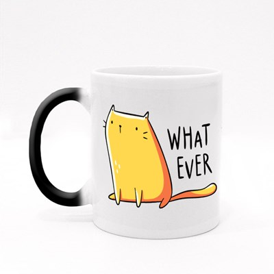 Kawaii Yellow Cat With a Blank Face Magic Mugs