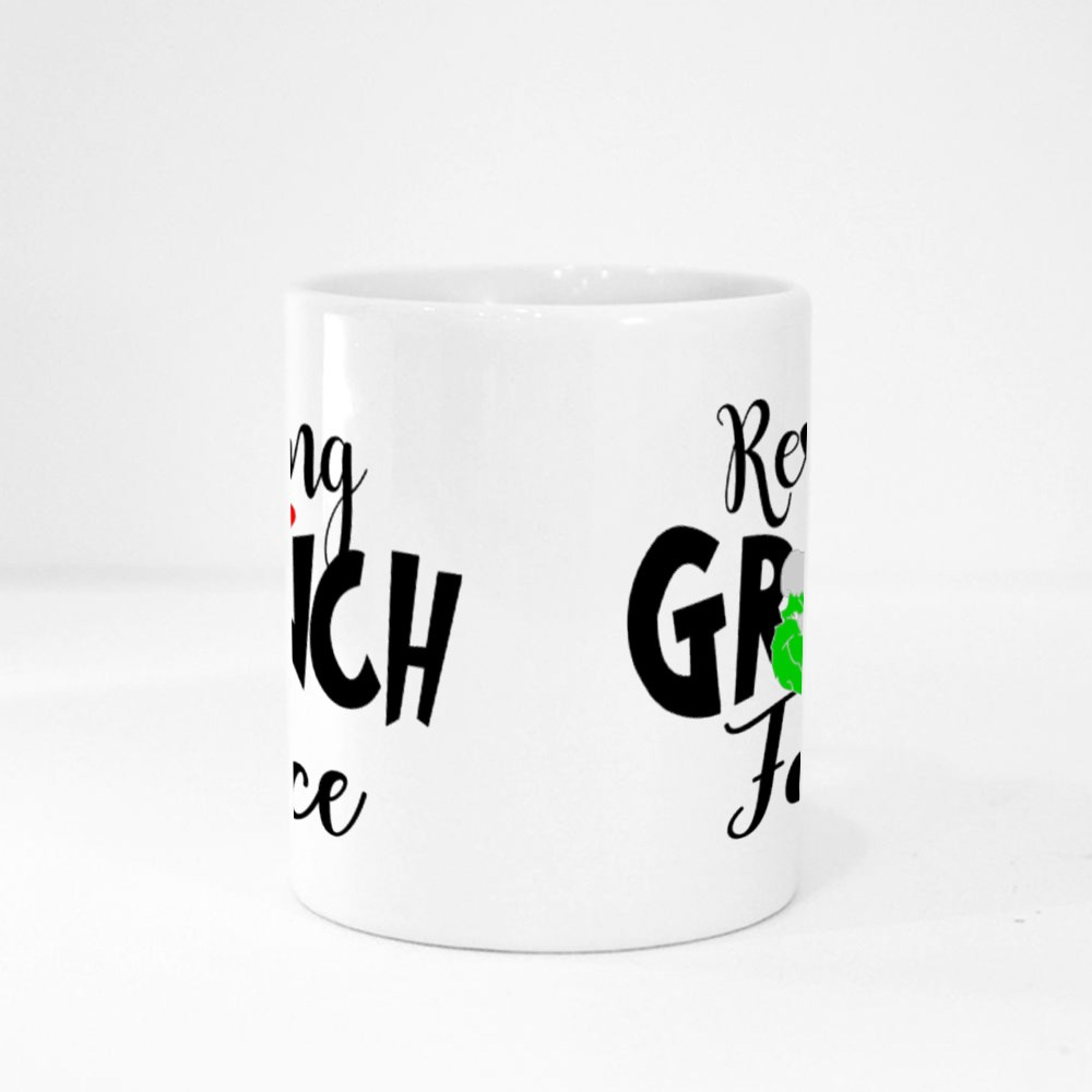 Resting Grinch Face Phrase for Christmas Magic Mugs