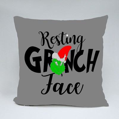 Resting Grinch Face Phrase for Christmas Throw Pillows