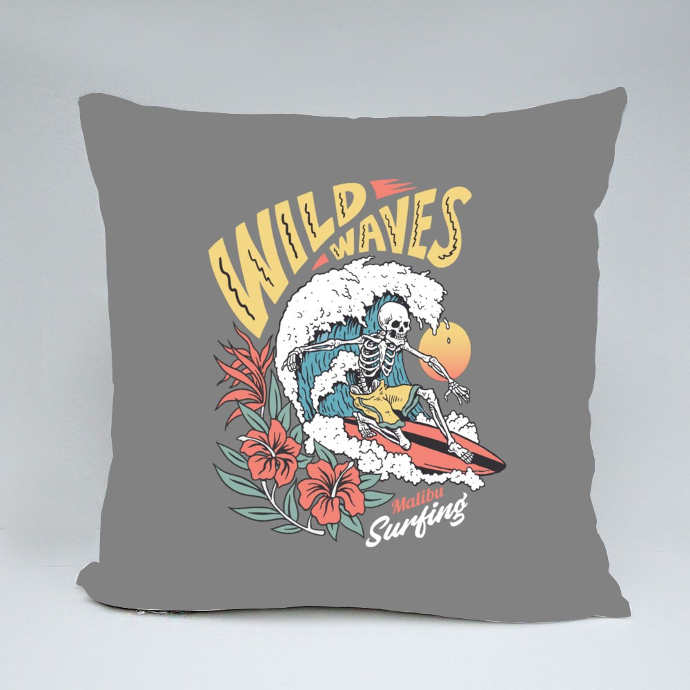 Vintage Graphic of a Surfing Skeleton With Hibiscus Flowers Bantal
