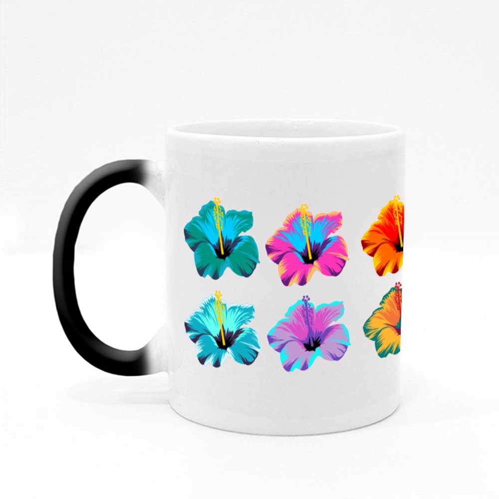 Hibiscus Flower With Many Colors. Magic Mugs