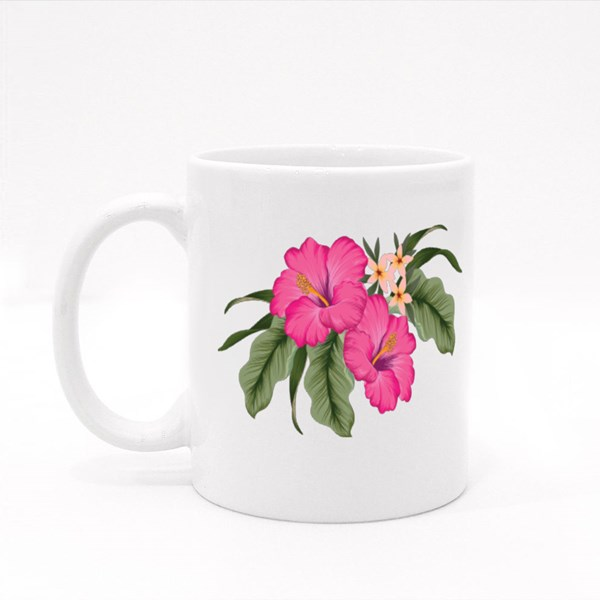A Cluster of Tropical Hibiscus Flowers With Jungle Leaves Colour Mugs