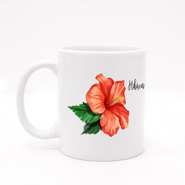 Olorful Hibiscus Flower With Leaves Isolated Colour Mugs