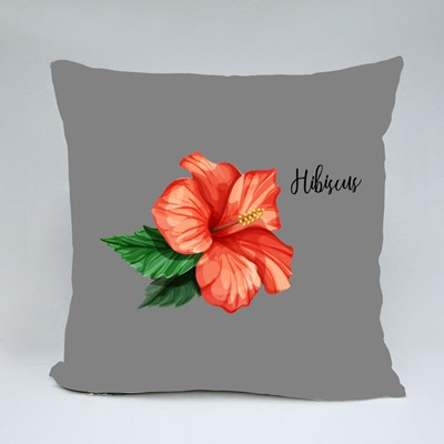 Olorful Hibiscus Flower With Leaves Isolated Throw Pillows