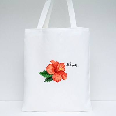 Olorful Hibiscus Flower With Leaves Isolated Tote Bags