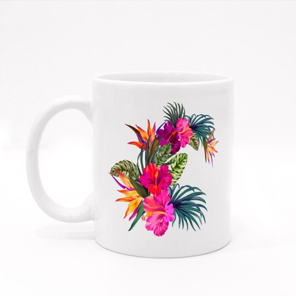 Bouquet With Tropical Flowers Colour Mugs
