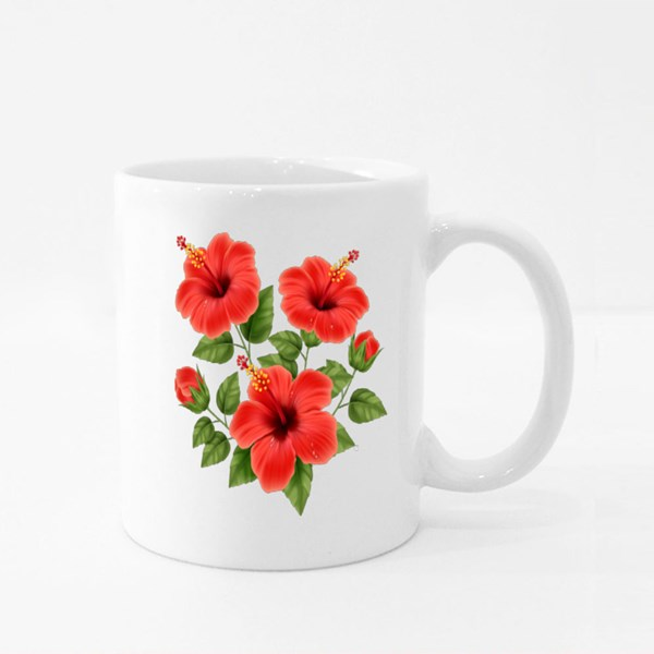 Realistic Beautiful Hibiscus Flower With Buds and Leaves Colour Mugs
