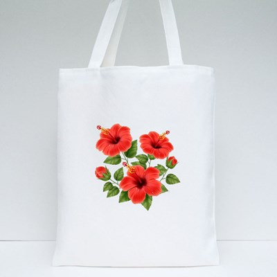 Realistic Beautiful Hibiscus Flower With Buds and Leaves Tote Bags