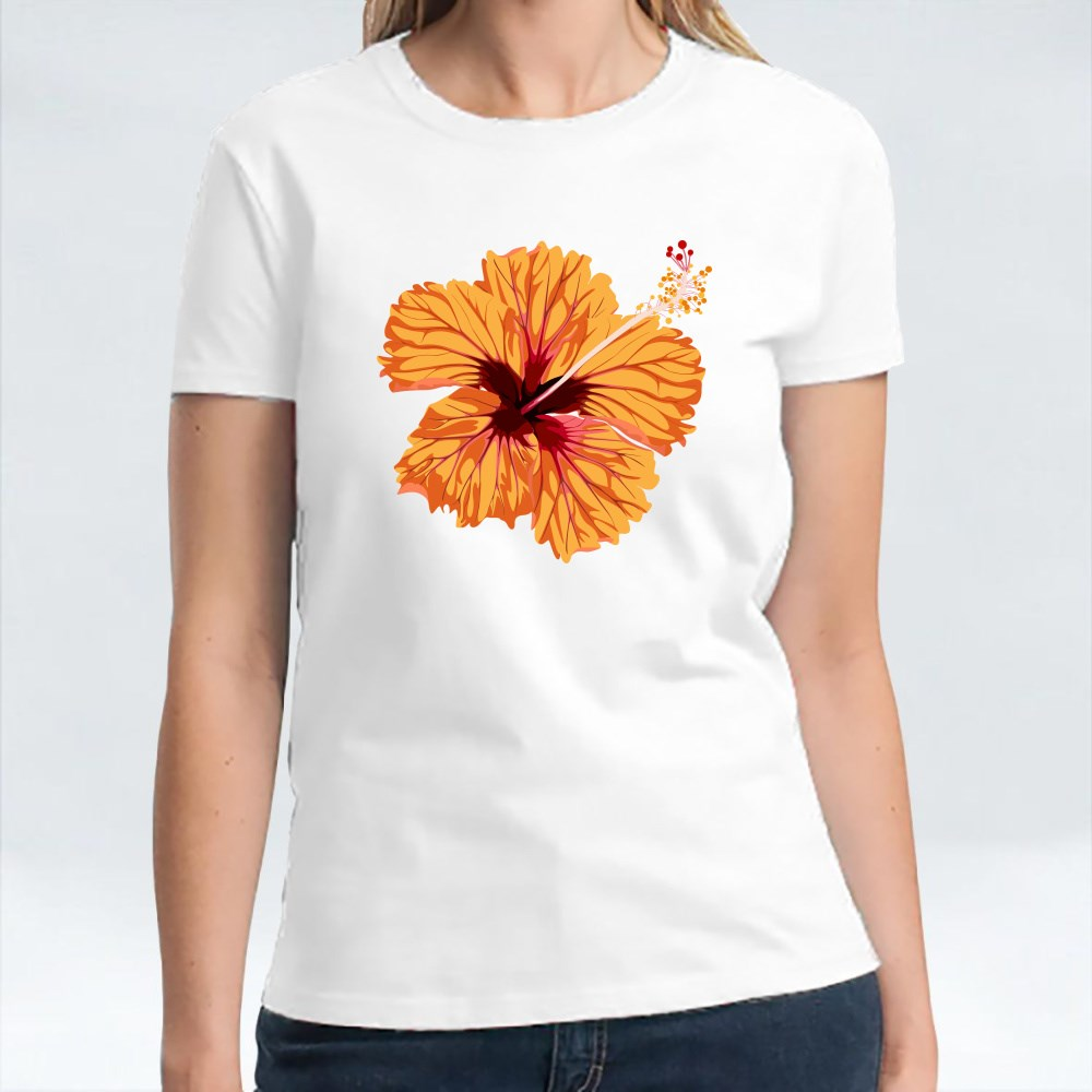 Hibiscus Orange Flower. Tropical Exotic Hawaii Plant Isolated T-Shirts