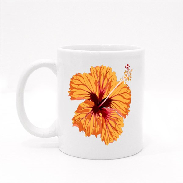 Hibiscus Orange Flower. Tropical Exotic Hawaii Plant Isolated. Colour Mugs