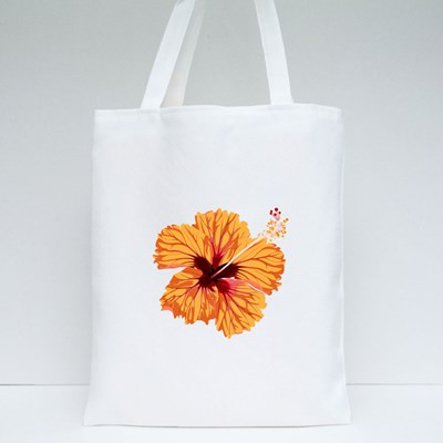 Hibiscus Orange Flower. Tropical Exotic Hawaii Plant Isolated. Tote Bags
