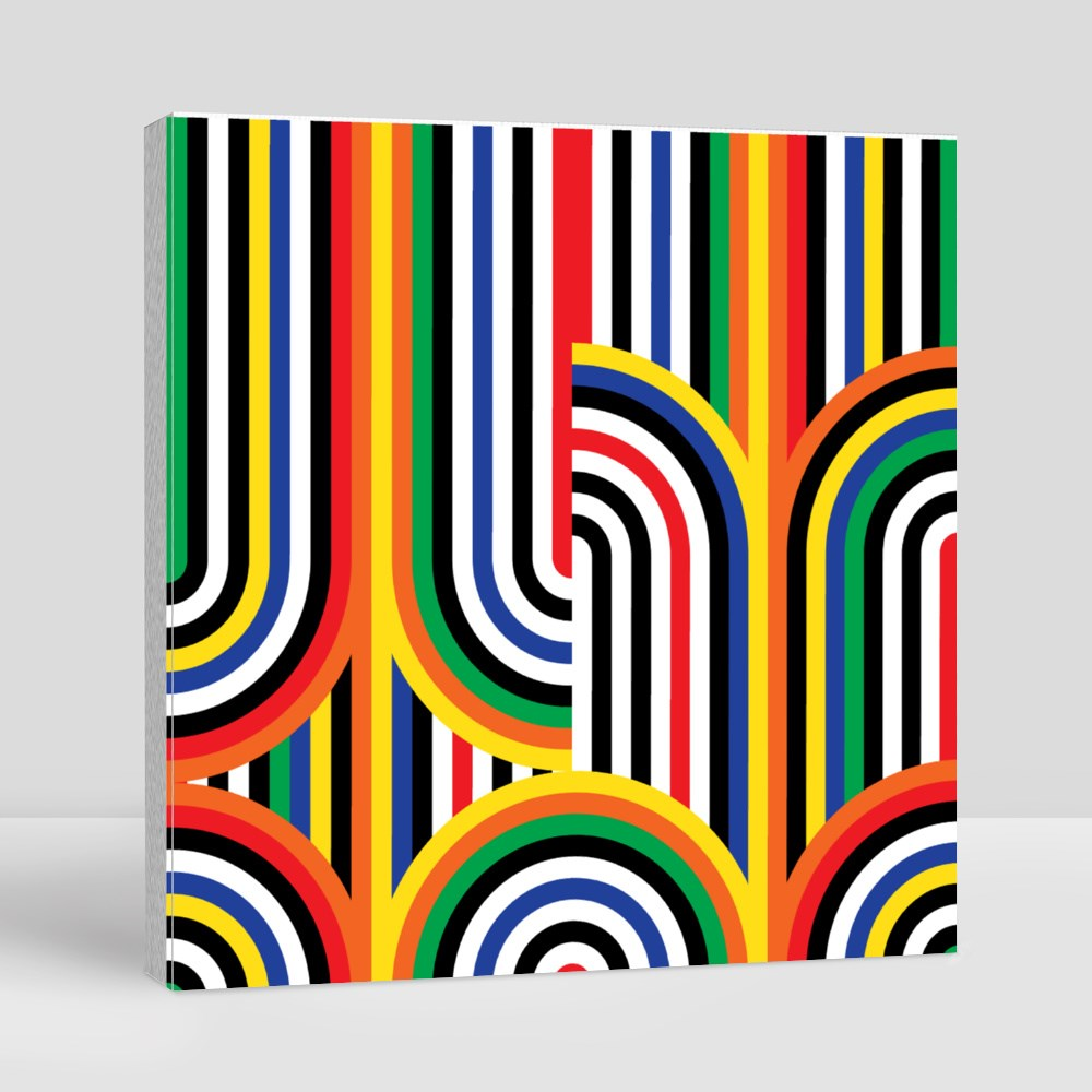 Abstract Vector Seamless Op Art Pattern. Colorful Disco Ornament Canvas (Square)