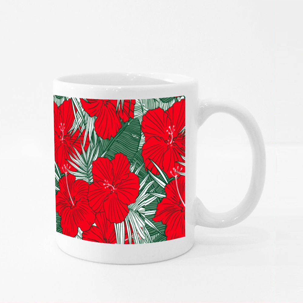 Banana Leaves and Hibiscus Flower Colour Mugs