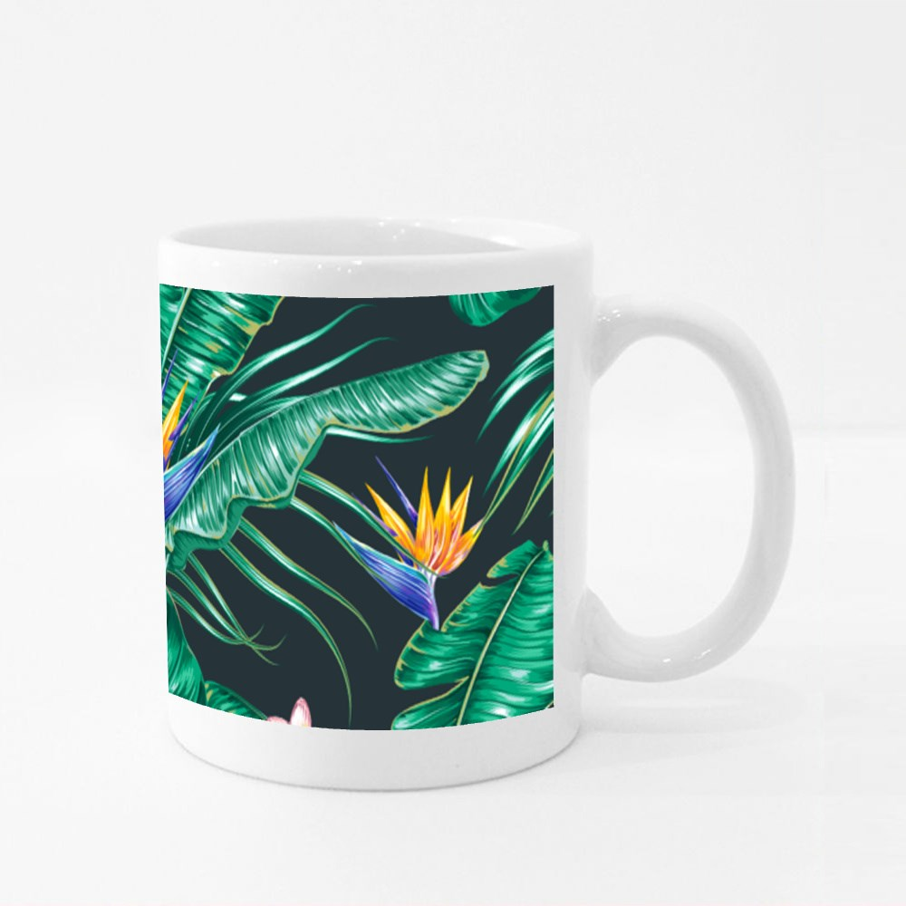 Seamless Pattern Background With Blooming Exotic Flowers Colour Mugs