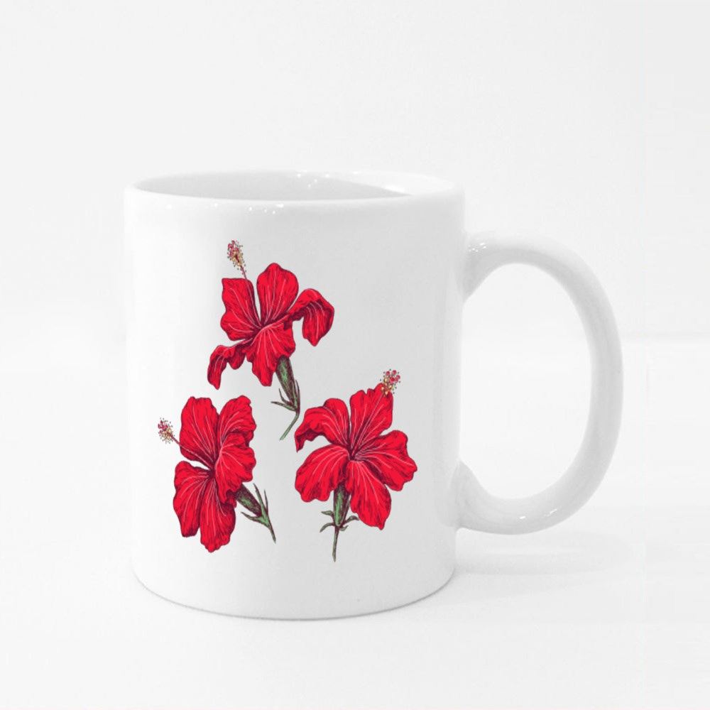 Hand Drawn Red Hibiscus Isolated on White Colour Mugs