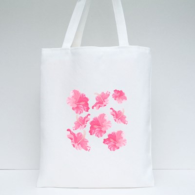 Hibiscus Flower Isolated. Exotic Tropical Botanical Vector Flower Tote Bags