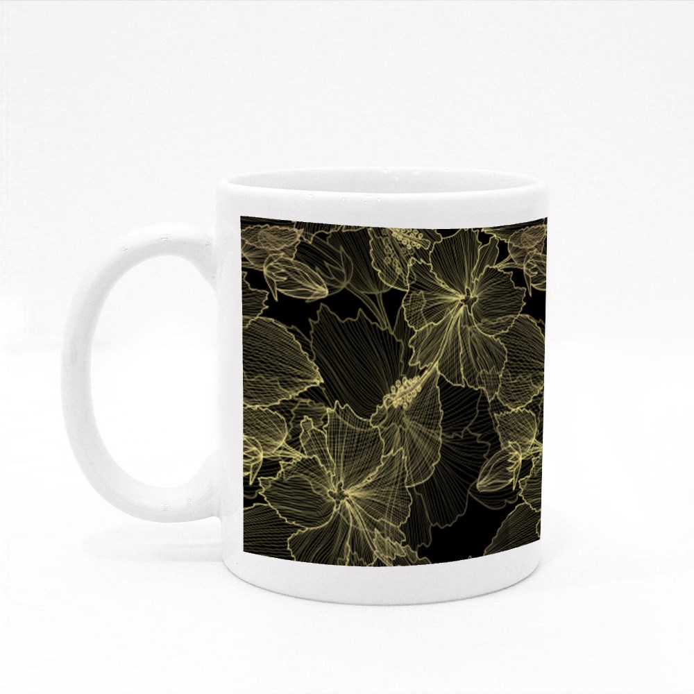 Elegant Golden Pattern With Hand Drawn Decorative Hibiscus Colour Mugs