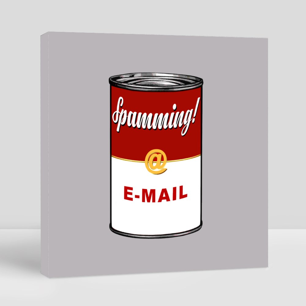 Spamming E-Mail on Soup Can, in the Style of 60'S Pop Art Canvas (Square)