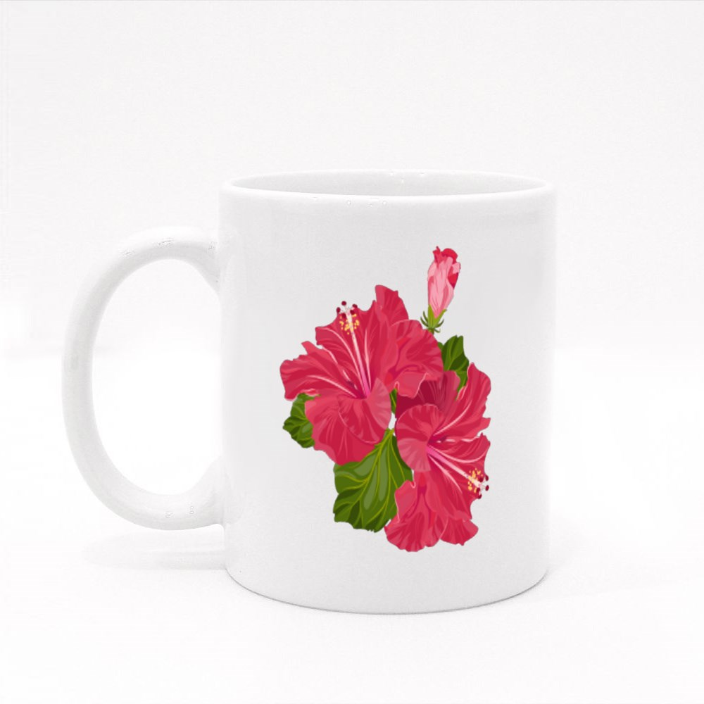 Red Hibiscus Flowers Colour Mugs