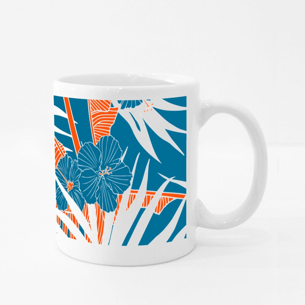 Palm Leaves and Hibiscus Flowers Colour Mugs