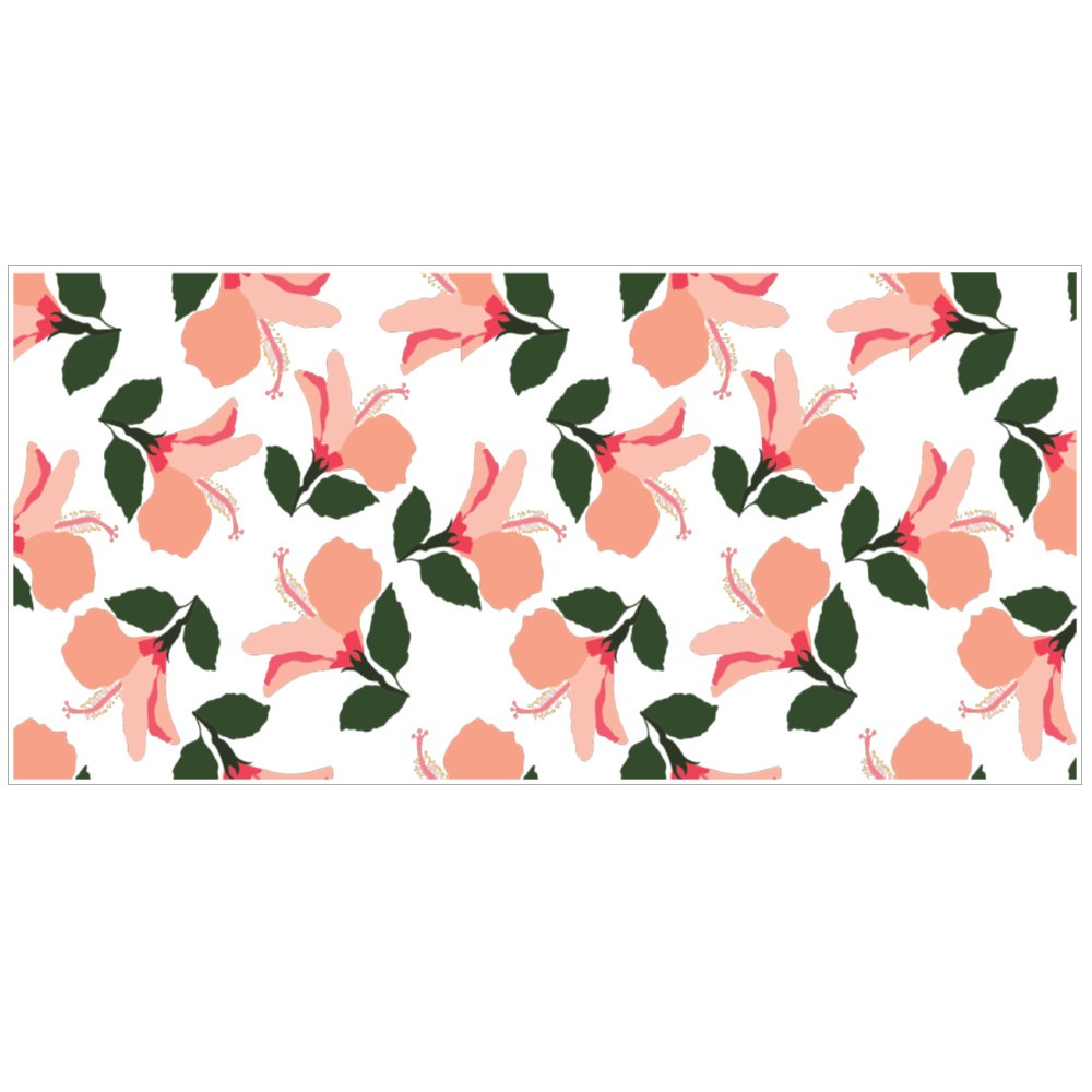 Vector Seamless Pattern With Hibiscus in a White Background. Colour Mugs