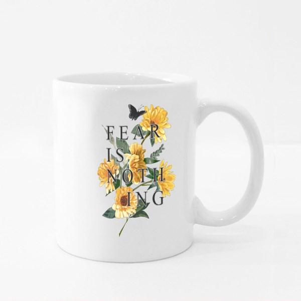 Typography Slogan on Sunflower Background Colour Mugs