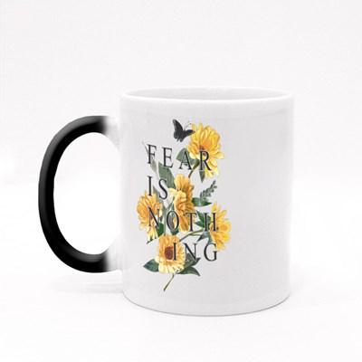 Typography Slogan on Sunflower Background Magic Mugs